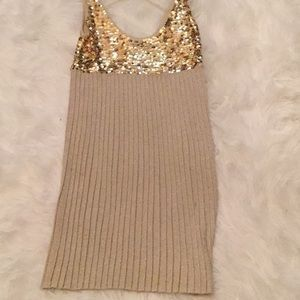 bebe Dresses - Gold and coco cocktail dress